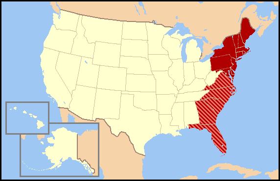 Sea Level Rise Hotspot The East Coast Of The United States - Map of the east coast of the united states