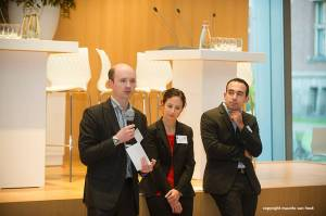 """Simon Sharpe of the UK Foreign Commonwealth Office, Bessma Mourad of the Skoll Global Threats Fund, and Francesco Femia of the Center for Climate and Security, during """"The World in 2050: A Far Future Scenario Workshop."""""""