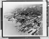Photographic copy of an historic photograph (From the Navy Yard Historical Center). AERIAL VIEW OF THE NAVY YARD DURING THE 1936 FLOOD. VIEW LOOKING NORTHWEST. BUILDING 36, JUST HABS DC,WASH,74-F-35